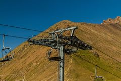 Cable Car pylon. Near Shymbulak Ski Resort Hotel in Almaty, Kaza Royalty Free Stock Photography