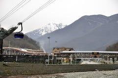 Cable Car railway station in ski resort Sochi, Roza Khutor Royalty Free Stock Photos