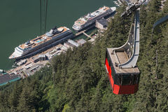 Cable Car. Red Cable Car in the harbour at Juneau, Alaska Stock Image