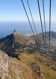 Cable Car Ride. Birds Eye View of the Lion's Head and Cape Town from cable car ride royalty free stock image