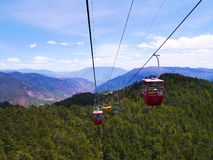 Cable Car ride in Lijiang stock photos