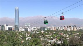 Cable car ride in Santiago, Chile. Cable car ride and holidays in Chile stock footage