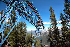 Cable car ride to Sulpher Mountain, in Banff national park, Albe Royalty Free Stock Photo