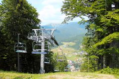 Cable car ropeway a ski lift in the summer in the mountains. Of the Carpathians Stock Image