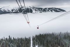 Peak to peak cable car at Whistler, Canada. Cable car running between two snow covered mountains at a ski resort Stock Photos