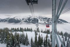 Peak to peak cable car at Whistler, Canada. Cable car running between two snow covered mountains at a ski resort Royalty Free Stock Images