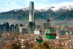 Cable car in San Cristobal hill, overlooking a panoramic view of Santiago. De Chile stock photography