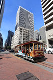 Cable car,San Francisco. Cable car station at the market streets in the city of San Francisco, with modern buildings background,San Francisco royalty free stock image