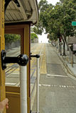 Cable Car in San Francisco. Famous cable car in San Francisco in motion, view from inside stock photo