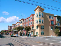 Cable Car in San Francisco. Modern houses in San Francisco and vintage cable car Stock Photography