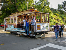 Cable car in San Francisco, CA stock photos