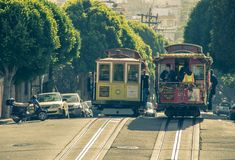 Cable car in San francisco,California Royalty Free Stock Image