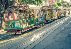 Cable car in San francisco,California stock photo