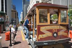 Cable Car in San Francisco, California USA. Cable Car in San Francisco from May 2, 2017, California USA royalty free stock photo