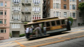 Cable car in San Francisco. Cable car on steep streets of San Francisco, blurred for effect stock photos