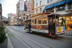 Cable car in San Francisco. Cable car in a street of San Francisco royalty free stock images