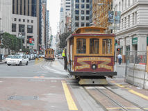 Cable car in San Francisco. SAN FRANCISCO, USA - FEBRUARY 05, 2013: The San Francisco cable car system is the world's last manually-operated cable car system Stock Photography