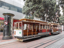 Cable car in San Francisco. SAN FRANCISCO, USA - FEBRUARY 05, 2013: The San Francisco cable car system is the world's last manually-operated cable car system Royalty Free Stock Photo