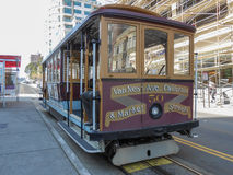 Cable car in San Francisco. SAN FRANCISCO, USA - FEBRUARY 06, 2013: The San Francisco cable car system is the world's last manually-operated cable car system Royalty Free Stock Photography
