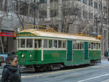 Cable car in San Francisco. SAN FRANCISCO, USA - FEBRUARY 05, 2013: The San Francisco cable car system is the world's last manually-operated cable car system Stock Images