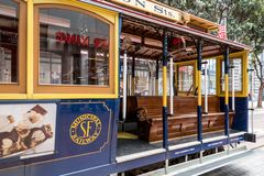 Cable car in san francisco. View of the historical cable car in san franscisco, usa stock photography