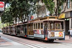Cable car in san francisco. View of the historical cable car in san franscisco, usa royalty free stock photography
