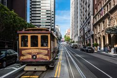 Cable car in san francisco. View of the historical cable car in the street of san franscisco , usa royalty free stock image