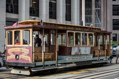 Cable car in san francisco. View of the cable car line from marrket street to califonia street in the morning. touristic attraction. san francisco. united states stock photos