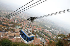 Cable car in San Marino, view from above Royalty Free Stock Images