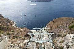 Cable car at Santorini island with sea view. Stock Photo