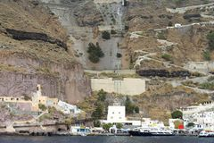 Cable car at Santorini island with sea view. Royalty Free Stock Image