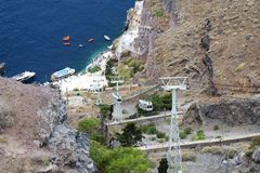 Cable car at Santorini island with sea view. Stock Image