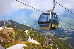 Cable car in the scenic mountains at the summer Royalty Free Stock Photography