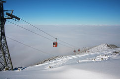 Cable car ski lift. Borovets, Bulgaria Royalty Free Stock Photo