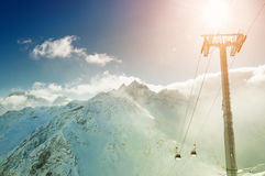 Cable car on the ski resort. Royalty Free Stock Photography