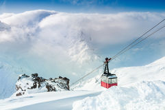 Cable car on the ski resort. Royalty Free Stock Photo