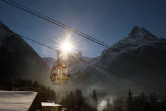 Cable Car in Ski Resort Royalty Free Stock Photos