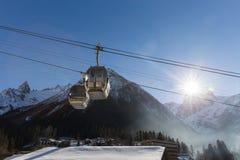Cable Car in Ski Resort Stock Photo