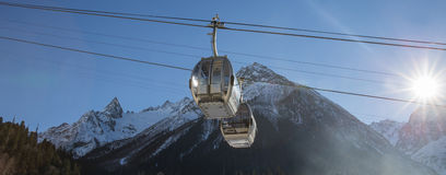 Cable Car in Ski Resort Stock Images