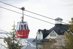 Cable car in ski Resort Sierra Nevada Royalty Free Stock Images