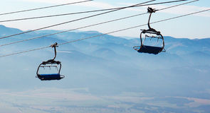 Cable car for skiers. Two cable cars for skiers in summer Stock Photography