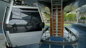 Cable car slowly arriving with passengers, modern public transportation, travel
