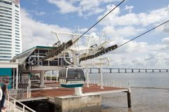 The cable car station on the coast Tejo - Lisbon Stock Image