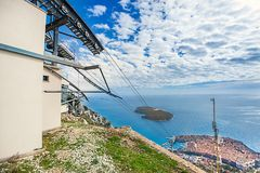 Cable car station on the mountain Sdr in Dubrovnik Royalty Free Stock Image