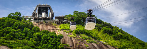 Cable car station on mountain Stock Images