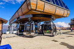 The cable car station in the mountains Stock Photo