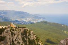 Cable car station on the plateau of mount AI-Petri,near the black sea coast and the city of Yalta. Crimea royalty free stock images
