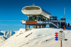 Cable car station and signboard,Les Menuires,France,Europe Royalty Free Stock Photography