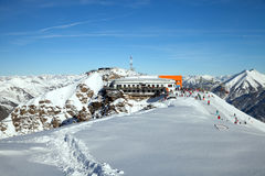 Cable car station on top of Stubnerkogel Stock Photo