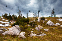 Cable car with stormy sky Stock Photo